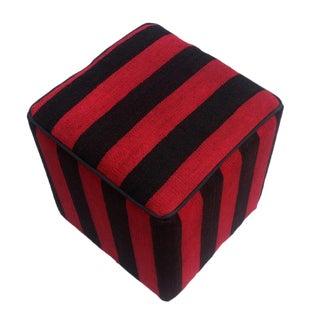 Arshs Dona Red/Black Kilim Upholstered Handmade Ottoman For Sale