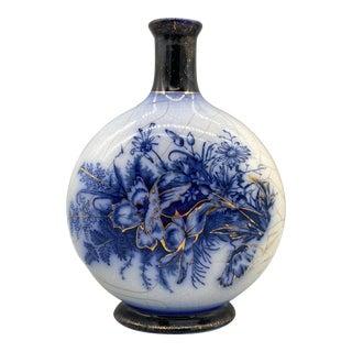 1920s Blue Flow Floral Vase For Sale