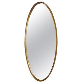 Classic Modern Gold Leaf Oval Mirror by La Barge For Sale