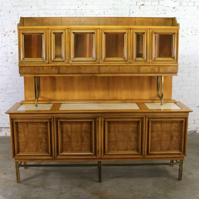 Campaign Mid Century Modern Credenza With Hutch Attributed to J. L. Metz Contempora Line For Sale - Image 3 of 13