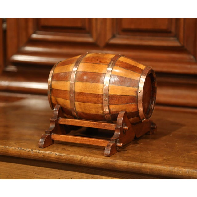 Early 20th Century French Carved Fruitwood and Brass Cognac Barrel on Stand For Sale In Dallas - Image 6 of 9