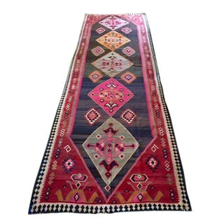Valide Kars Palace Kilim Runner - 5′6″ × 18′ For Sale