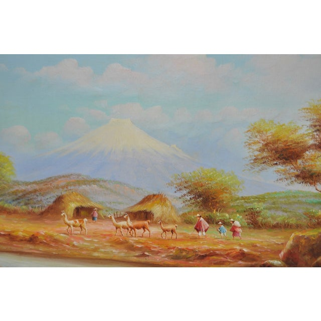 Rustic 1950s Ecuadorian Mountain Village Painting For Sale - Image 3 of 7
