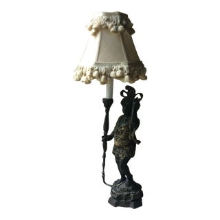 French Antique Accent Lamp C 1920s with Tassel Shade For Sale