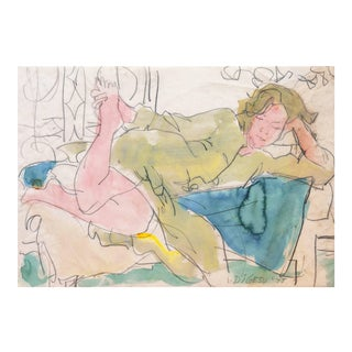 'Woman Reclining', by Victor DiGesu, California Post-Impressionist Louvre, Académie Chaumière, Paris 1975 For Sale