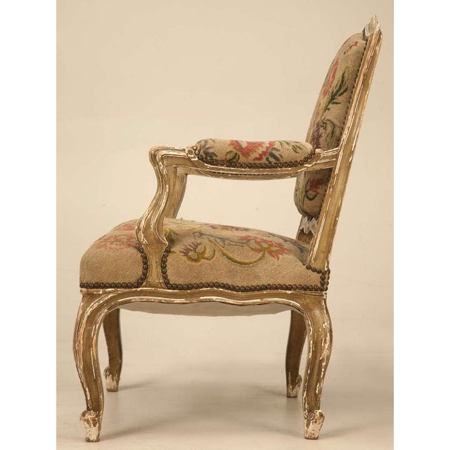 Tan Original Paint Antique Italian Armchairs with Needlepoint - a pair For Sale - Image 8 of 10