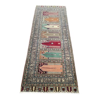 1960s Turkish Hand-Knotted Manchester Kitchen Runner For Sale