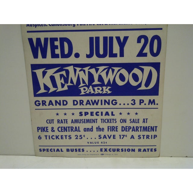Circa 1950 Canonsburg Community Picnic Kennywood Park Poster For Sale - Image 4 of 5