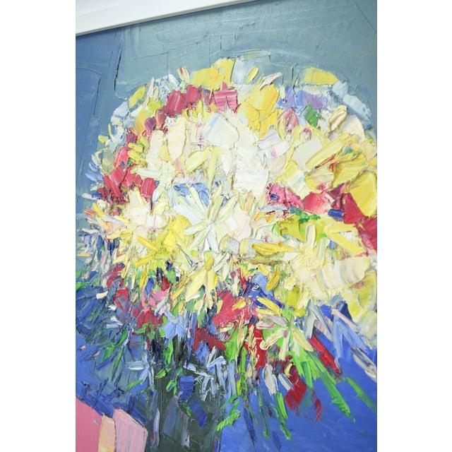 Italo Botti Italo Botti Mid-Century Modern Floral Still Life Oil Painting For Sale - Image 4 of 9