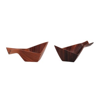 Rare Pair of Wooden Fish Bowls by Kenji Fujita For Sale