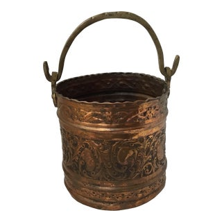 Antique Brass and Copper Bucket With Handle For Sale