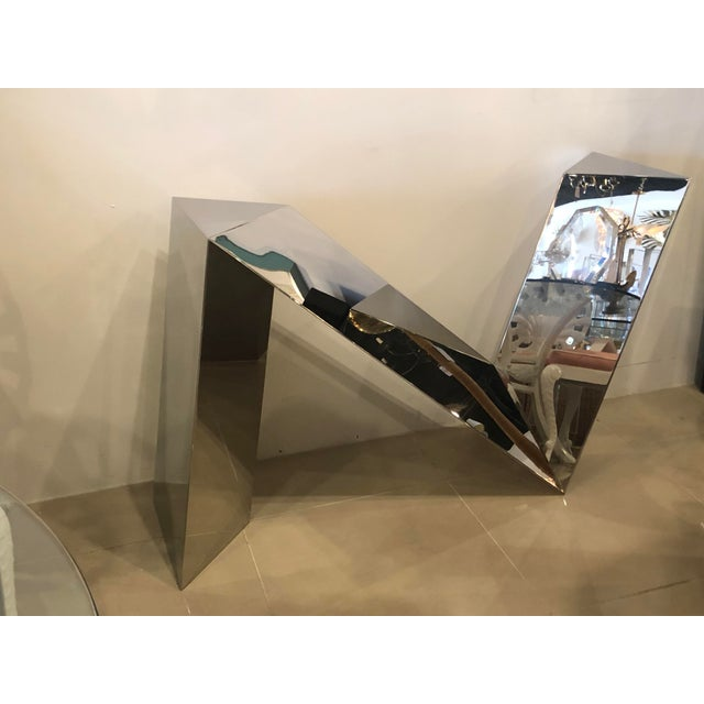 1970s Vintage Modern Polished Stainless Steel Zig Zag Geometric Console Table For Sale - Image 5 of 12