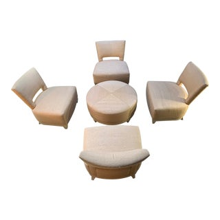 Kravet Five Piece Lounge Set of Four Chairs and Center Table/Ottoman For Sale
