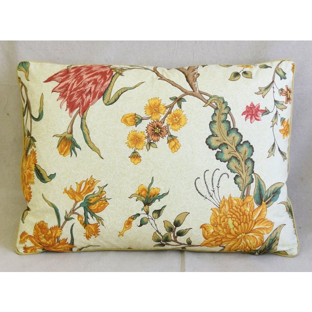 """American Schumacher Arbre Fleuri Floral & Ticking Feather/Down Pillows 22"""" X 16"""" - Pair For Sale - Image 3 of 13"""