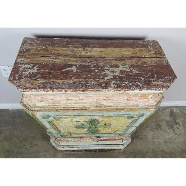 19th century Italian painted altar table hand painted in soft hues of pink, blue, green and gold. It would make a perfect...