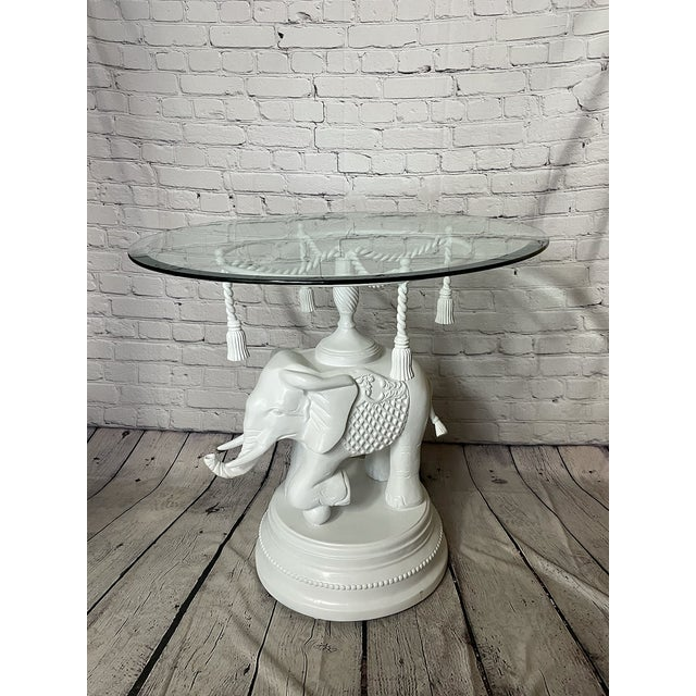 Vintage Glass White Elephant Side Table For Sale In Buffalo - Image 6 of 6