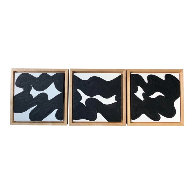 Wave Runner Abstract Black and White Framed Triptych For Sale