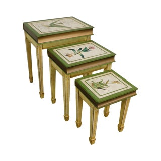 Faux Books Paint Decorated Nesting Set of 3 Side Tables For Sale