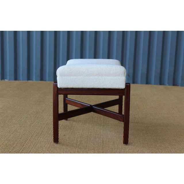 Rosewood Upholstered Footstool, Denmark, 1950s For Sale - Image 4 of 6