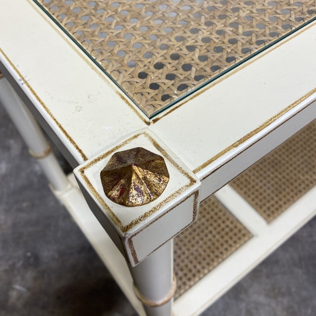 Vintage Off White and Gold Leaf Two Tier Console With Wicker Panels For Sale In Richmond - Image 6 of 12