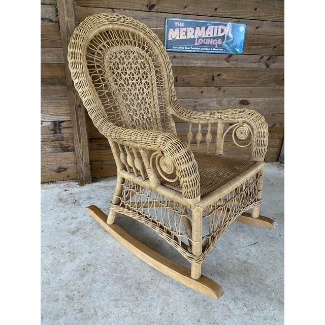 1980's Vintage Fiddlehead Wicker Rocking Chair For Sale - Image 12 of 12