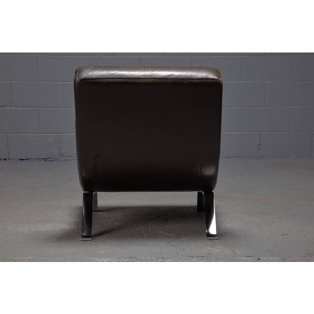 Mid-Century Modern Leather and Steel Lounge Chair in the Style of Arne Norell For Sale - Image 3 of 10