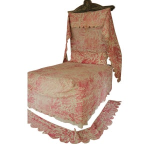 Antique French Victorian Red Pink Quilted Toile Bed Textiles Collection - 6 Piece Set For Sale
