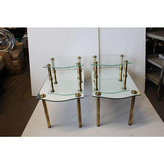 Hollywood Regency Mid Century Solid Brass Mirrored End Tables- A Pair For Sale - Image 3 of 4