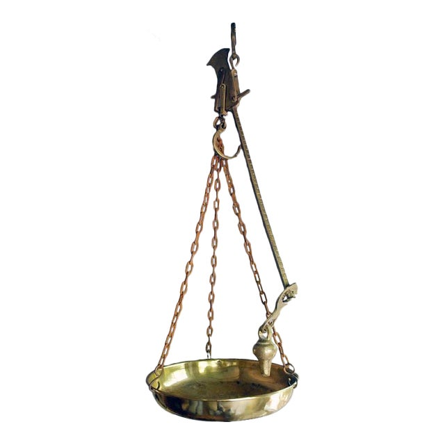 Vintage Hanging Kitchen Scale: Antique Brass Hanging Scales From Belgium