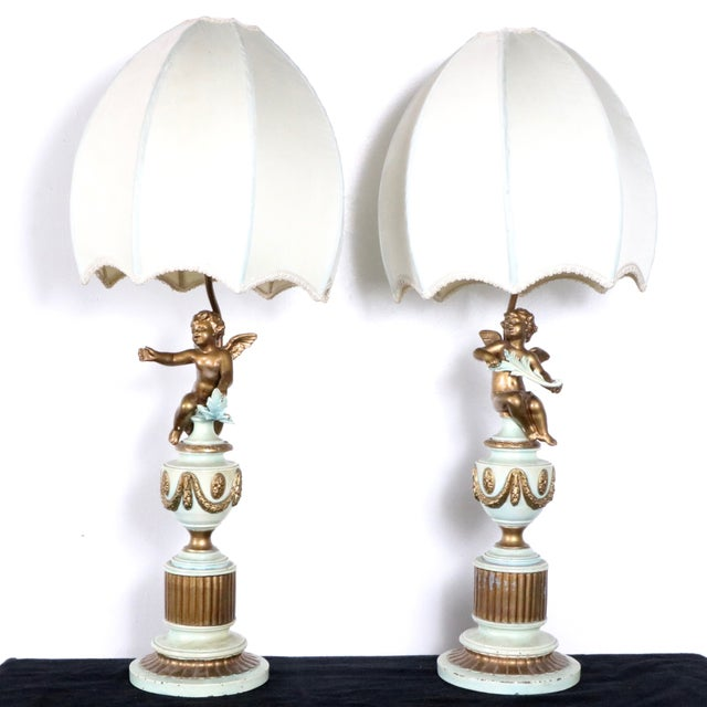 French Style Angel Table Lamps - A Pair - Image 3 of 8