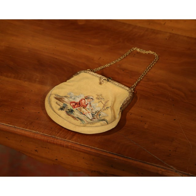 French 19th Century French Louis XVI Aubusson Ladies Purse With Brass Strap and Lock For Sale - Image 3 of 9