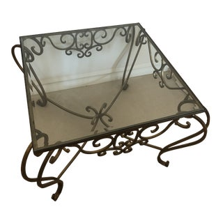Late 20th Century Glass Bronze Square Coffee Table For Sale