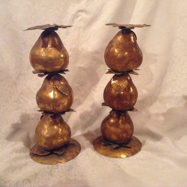 Metallic Pear Candle Holders - A Pair - Image 2 of 3