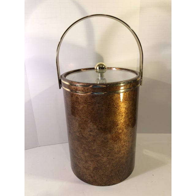 Mid-Century Modern Vintage Marble Pattern With Gold Accent Ice Bucket & Bar Tools ManCave MadMen Style Decor For Sale - Image 3 of 13