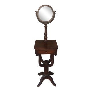 Antique Wood Floor Standing Shaving Station With Swivel Mirror For Sale