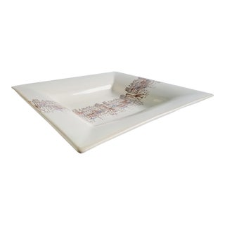 1990s Crate & Barrel Antica Fornace Ceramiche Da Tavola Venetian Square Platter For Sale
