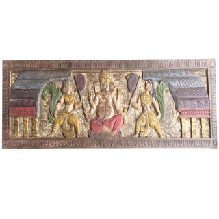 Vintage Eclectic Ganapati Bohemian Decor Wood Headboard For Sale