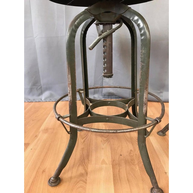 Green Toledo Industrial Adjustable Height Backless Swivel Stools, Three Available For Sale - Image 8 of 13