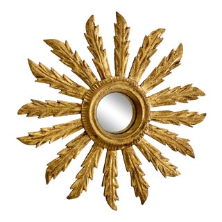 French Small Acanthus Leaf Sunburst Mirror For Sale