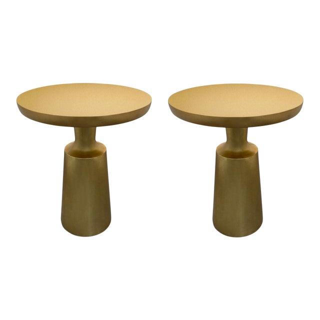 Holly Hunt Gold Peso Side Tables - Pair For Sale