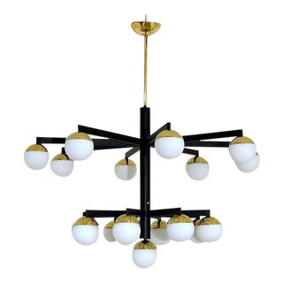 Mid-Century Black and Brass Italian Style Chandelier For Sale
