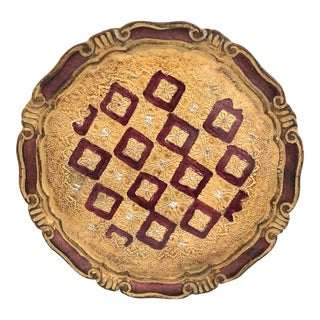 Burgandy and Gold Florentine Round Tray For Sale