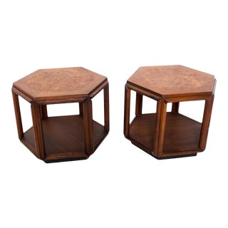 Hexagonal Side Tables in Walnut With Burlwood Top by John Keal for Brown Saltman 1960s - a Pair For Sale