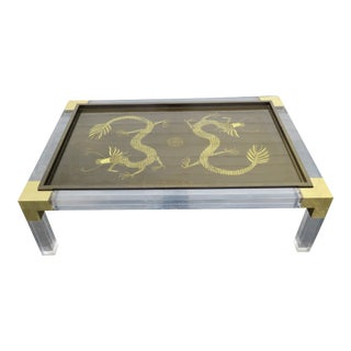 Mid Century Modern Lucite and Brass Glass Top Painted Dragon Coffee Table For Sale