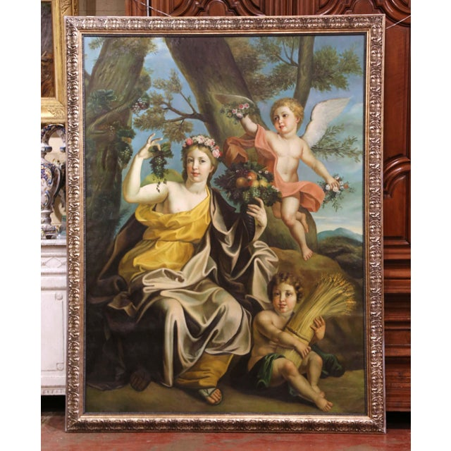 Large Mid-Century French Allegory Oil on Canvas Painting in Carved Frame For Sale - Image 10 of 10