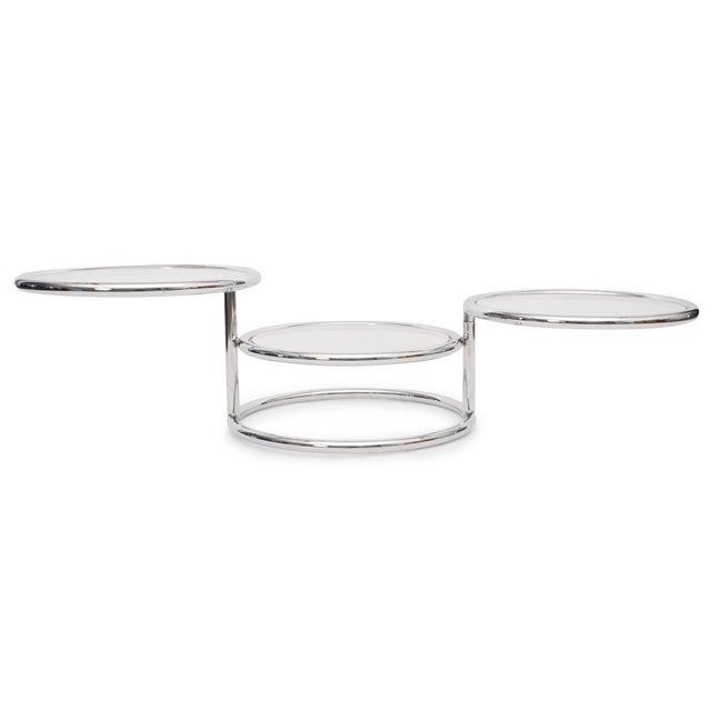 Modern Convertible Chrome & Glass Cocktail Table after Pace For Sale - Image 3 of 8