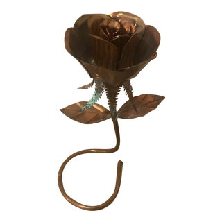 Vintage Hand Forged Copper Standing Rose For Sale