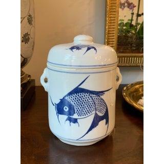 Vintage Chinese Blue & White Porcelain Tea Jar Preview