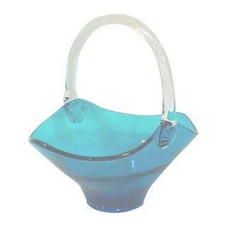 Blue Art Glass Handled Bowl