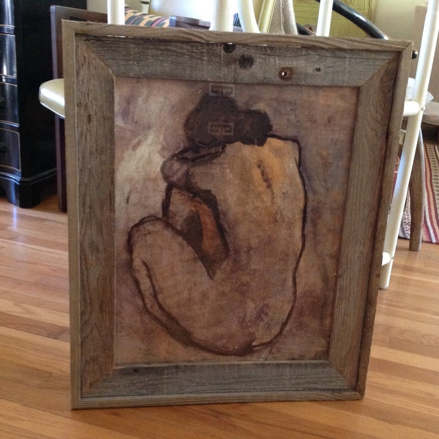 Rustic Wood Framed Picasso Nude Print - Image 6 of 6